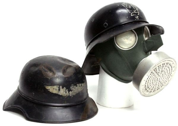 GERMAN WWII LUFTSCHUTZ HELMETS AND GAS MASK