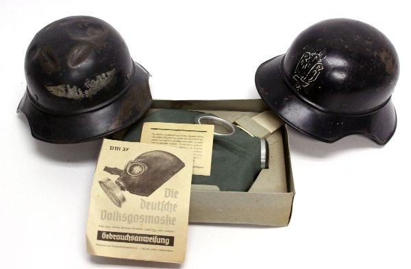 GERMAN WWII LUFTSCHUTZ HELMETS AND GAS MASK - 2