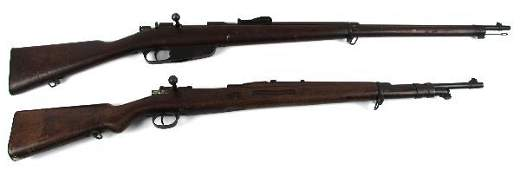 TWO DEMILLED MILITARY RIFLES CARCANO & MAUSER