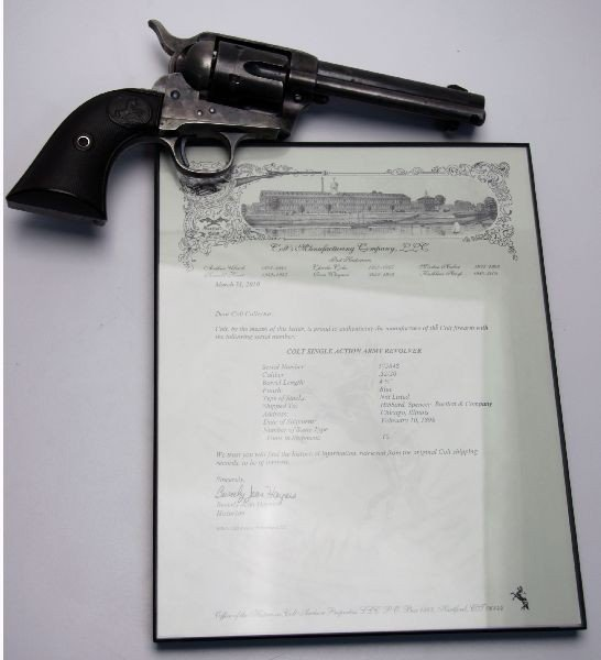COLT SAA REVOLVER .32 WCF WITH ARCHIVE LETTER 1898 - 9