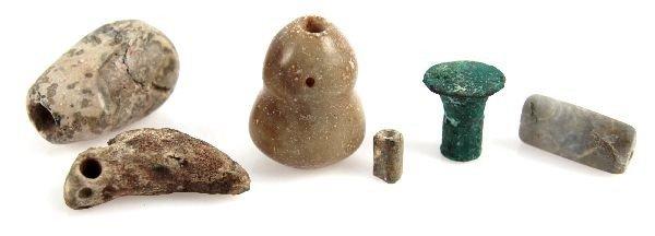 SIX STONE PRECOLUMBIAN BEADS AND PENDANTS