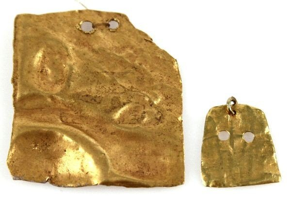 TWO PRECOLUMBIAN GOLD ALLOY BEADS