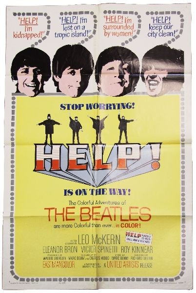 1965 THE BEATLES HELP MOVIE POSTER