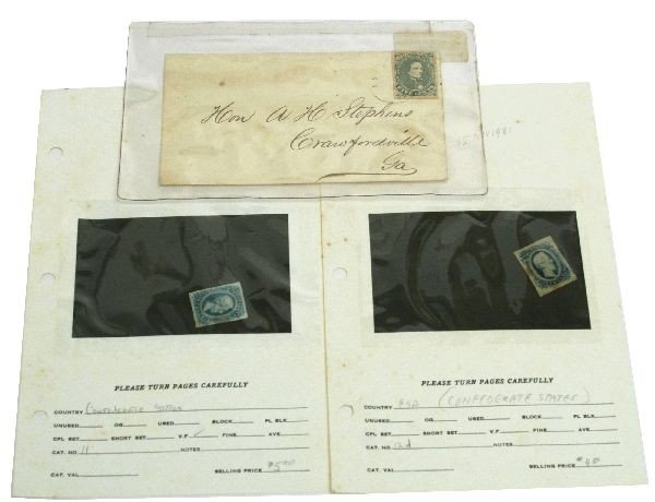CONFEDERATE STATES POSTAGE STAMPS & COVER TO V.P.