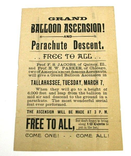 TALLAHASSEE GRAND BALLOON ASCENSION BROADSIDE