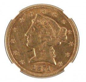 1871CC GOLD $5 LIBERTY HALF EAGLE NGC AU DETAILS