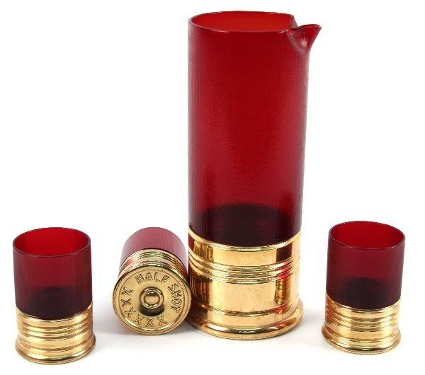 MAGNUM XX SHOTGUN SHELL WHISKEY DECANTER & GLASSES