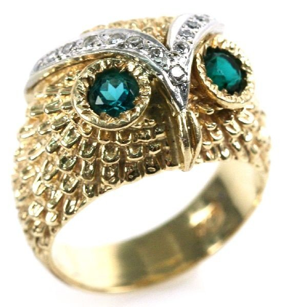 14K GOLD EMERALD & DIAMOND OWL RING