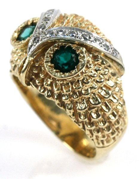 14K GOLD EMERALD & DIAMOND OWL RING - 2
