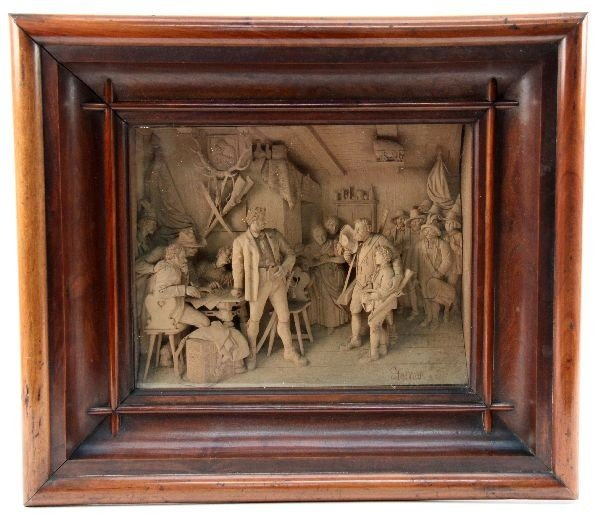 Ernst steiner framed heavy relief carving lot