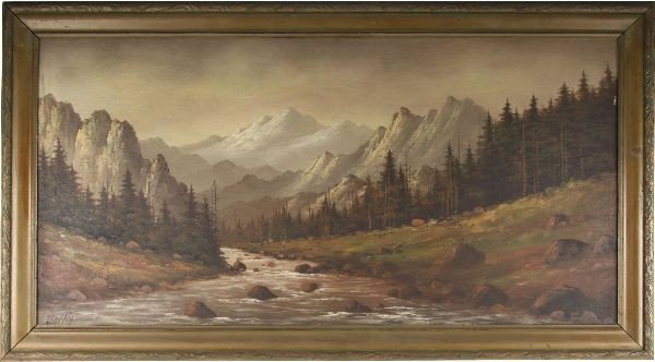 LORENZ E GRIFFITH OIL ON BOARD LANDSCAPE PAINTING