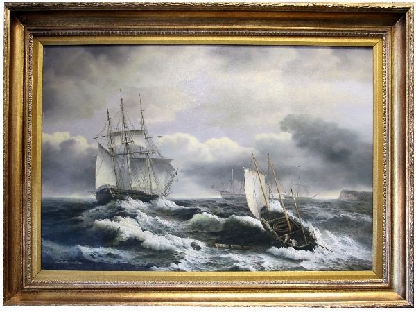 FRAMED AND SIGNED WHALING SCENE OIL ON CANVAS