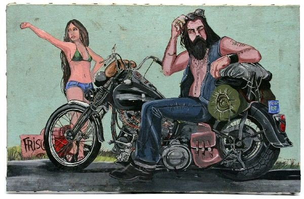 UNFRAMED DAVID MANN MOTORCYCLE PAINTING