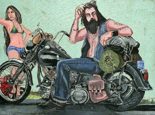 UNFRAMED DAVID MANN MOTORCYCLE PAINTING - 2