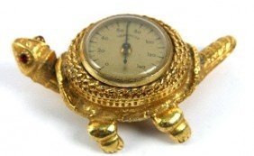 FRENCH NODDING BRASS TURTLE THERMOMETER
