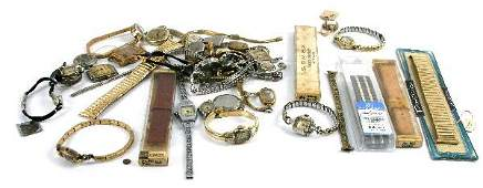 WATCHMAKERS STASH  MANY VINTAGE WATCHESPARTS