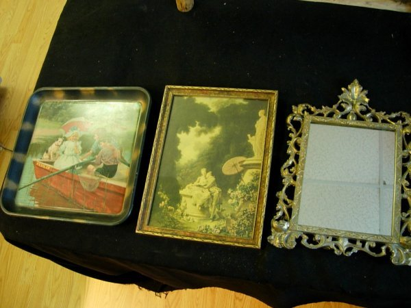 90009: ANTIQUE DRESSER MIRROR PRINT REPRODUCTION TRAY S