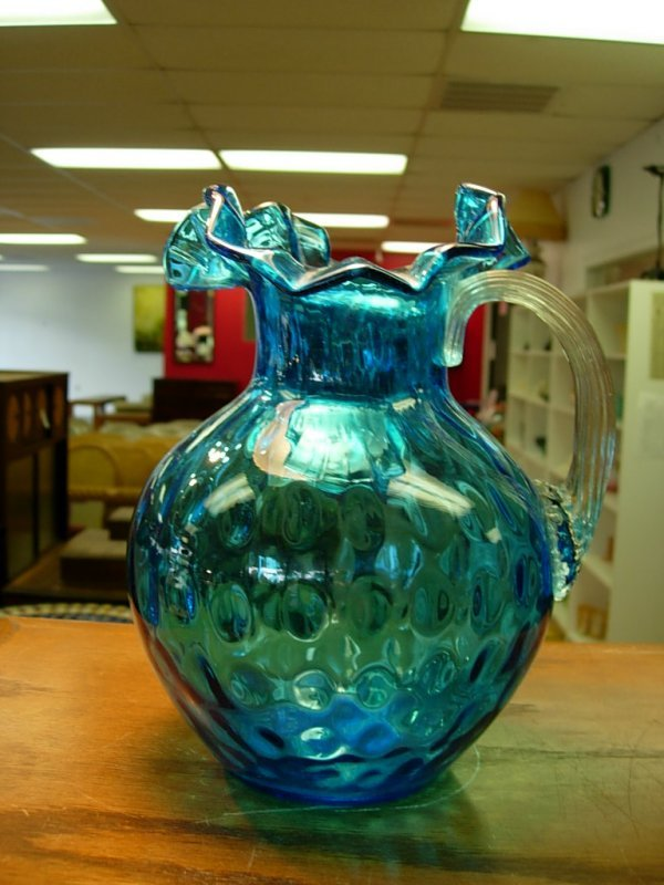 90011: ANTIQUE HANDBLOWN BLUE PITCHER  OPEN PONTIL ROYA