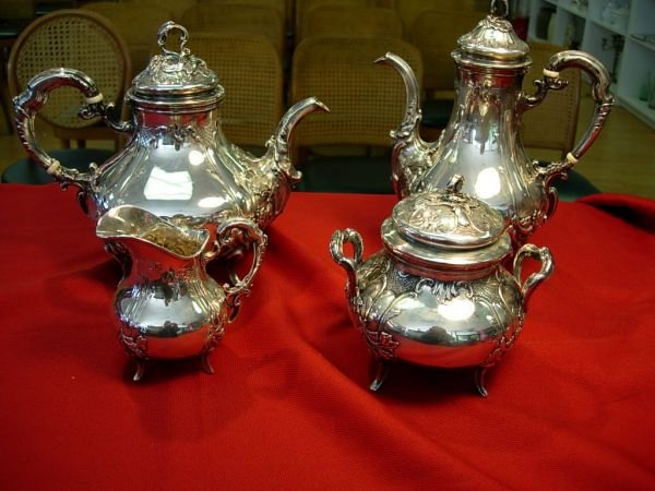 90165: VICTORIAN HALLMARK SILVER FRENCH TEA COFFEE SET