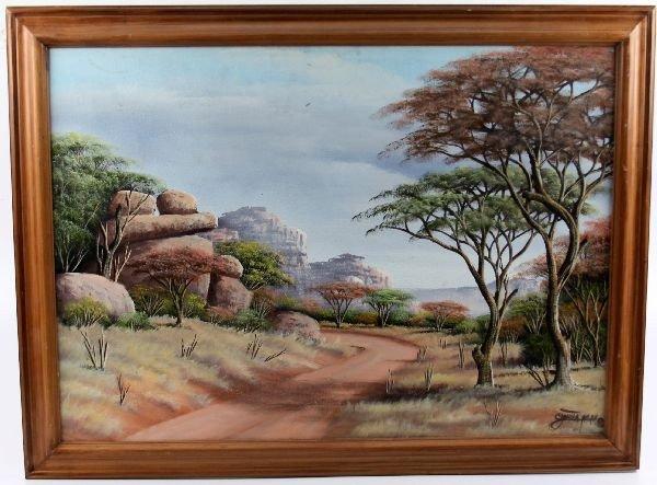 FRAMED ZIMBABWE LANDSCAPE PAINTING