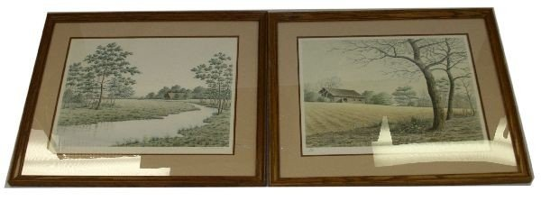 TWO SIGNED AND NUMBERED BUTLER BROWN LITHOGRAPHS