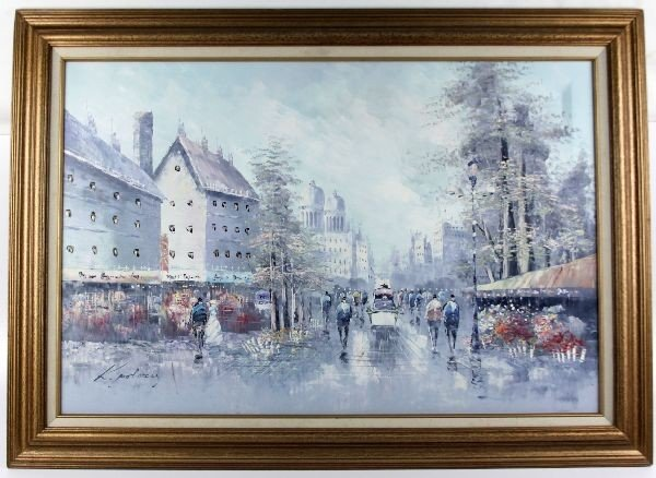 FRAMED CITYSCAPE OIL PAINTING SIGNED K. POLNEY