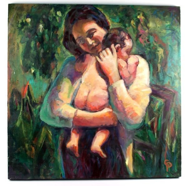 UNFRAMED OIL PAINTING MOTHER AND CHILD