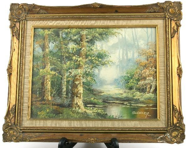 FRAMED AND SIGNED WOODLAND OIL ON CANVAS