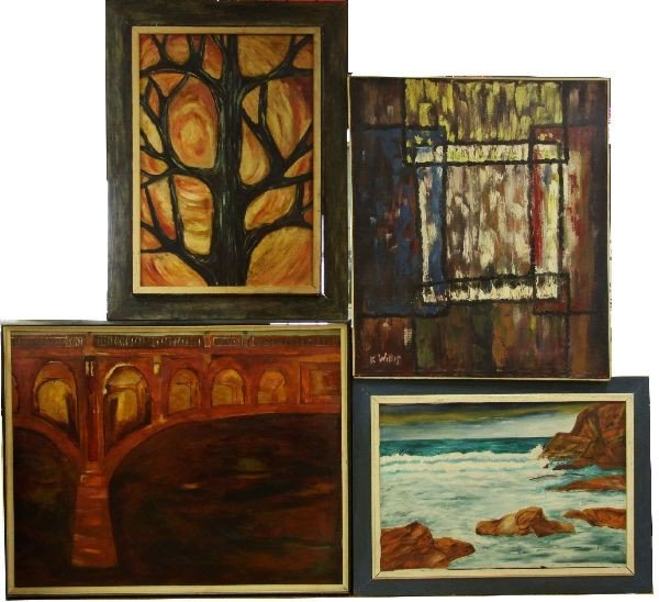 FOUR LARGE FRAMED PAINTINGS EACH SIGNED