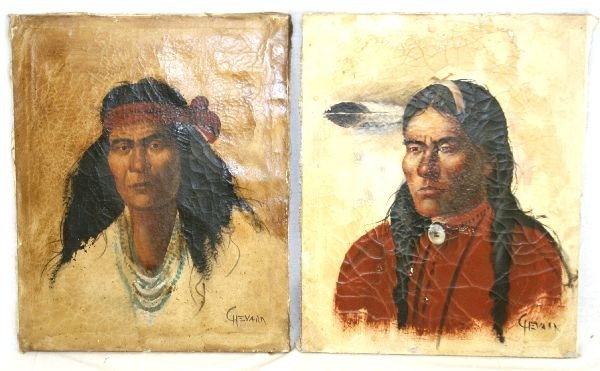 2 PAINTINGS SIGNED CHEVARN OF NATIVE AMERICANS