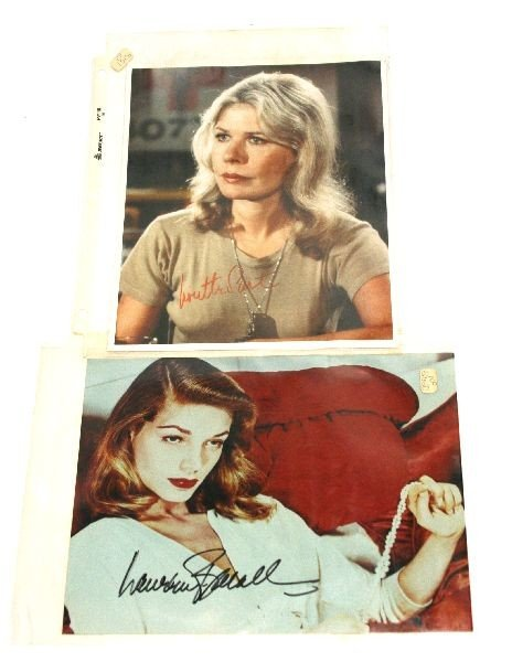 LAUREN BECALL AND LORETTA SWIT SIGNED PHOTOS