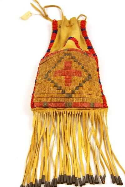 Native American Crow Beaded Medicine Bag