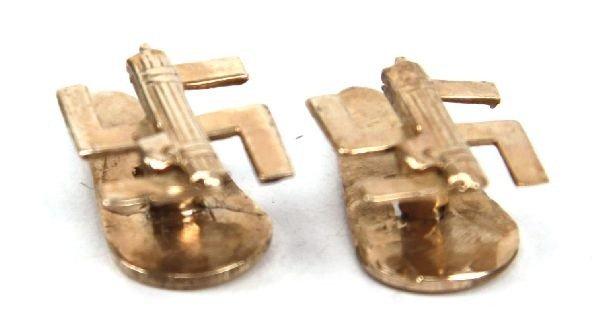 WWII GERMAN GOLD SWASTIKA FASCIST CUFFLINKS - 2