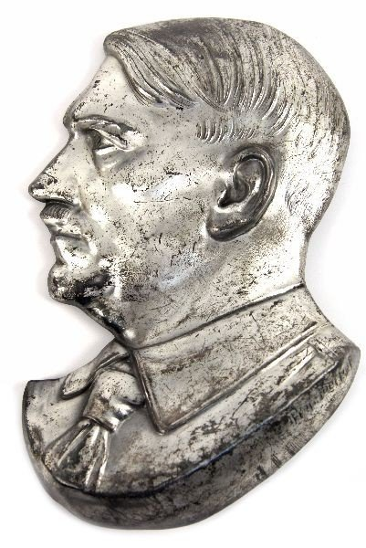 GERMAN WWII SIGNED METAL BUST OF HITLER