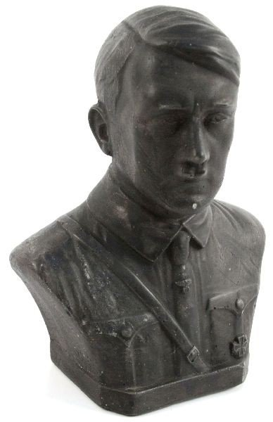 GERMAN WWII BUST OF HITLER IN SS SHIRT