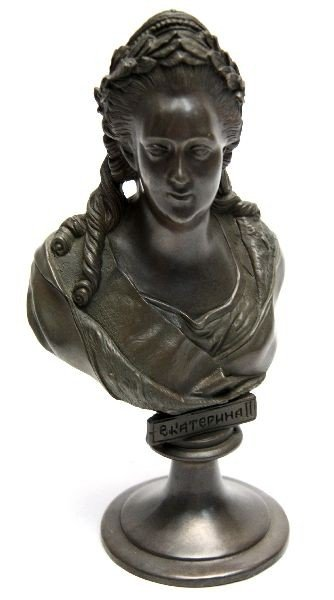 BRONZE BUST OF CATHERINE THE GREAT OF RUSSIA