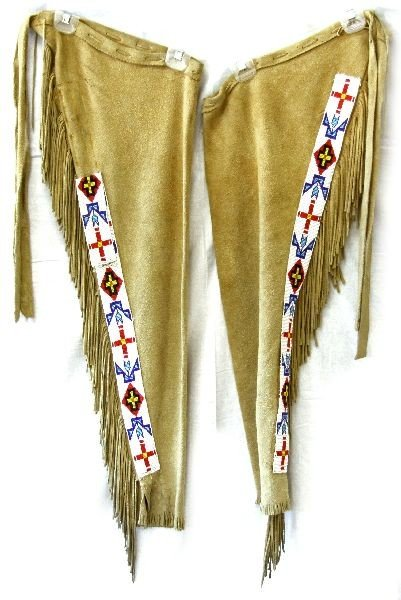 Native American Leggings With Beaded Strips