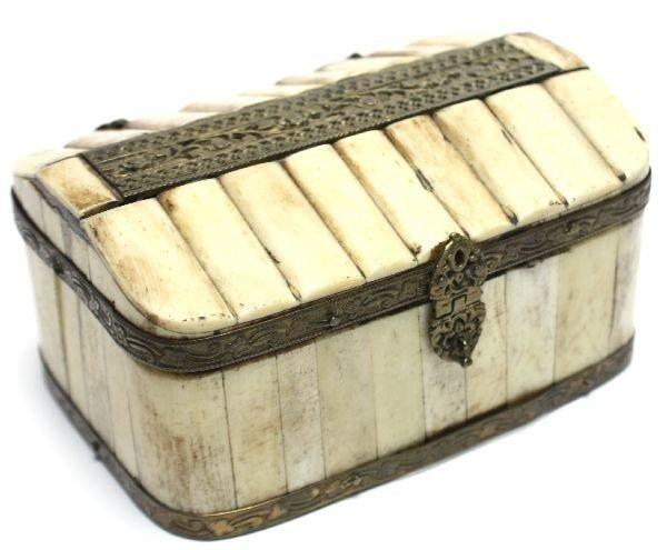 19TH CENTURY IVORY AND BRASS DRESSER BOX