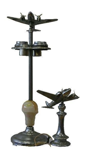 ART DECO ALUMINUM AIRPLANE LAMP AND ASHTRAY LAMP