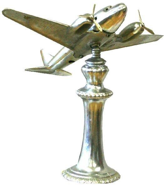 ART DECO ALUMINUM AIRPLANE LAMP AND ASHTRAY LAMP - 2