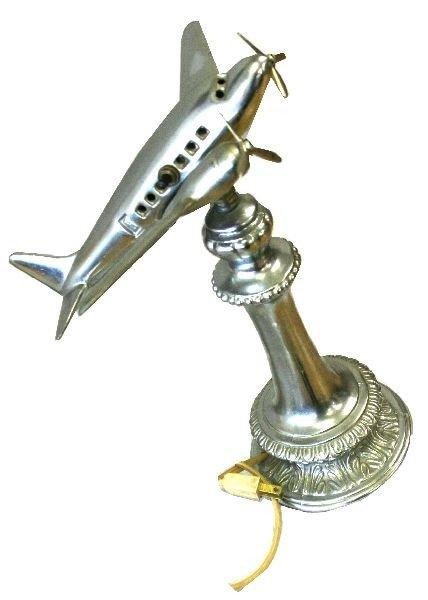 ART DECO ALUMINUM AIRPLANE LAMP AND ASHTRAY LAMP - 4