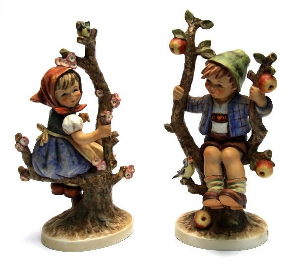 LARGE HUMMEL APPLE TREE BOY & GIRL FIGURES