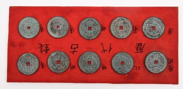 10 MIXED DYNASTY CHINESE BIANFU BAT GOOD LUCK COIN