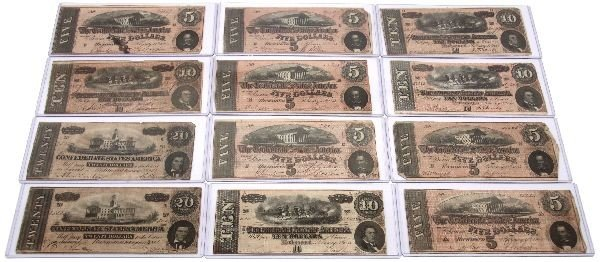 CONFEDERATE STATES NOTE LOT OF 12 5'S 10'S 20'S