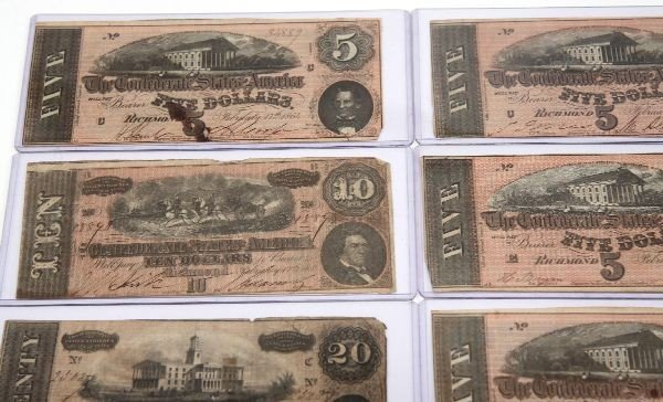 CONFEDERATE STATES NOTE LOT OF 12 5'S 10'S 20'S - 2