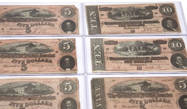 CONFEDERATE STATES NOTE LOT OF 12 5'S 10'S 20'S - 3
