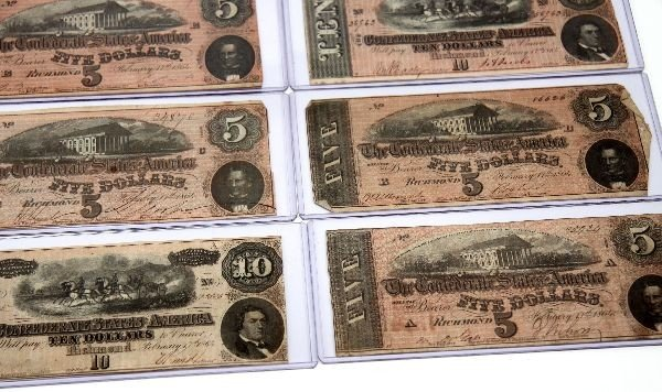 CONFEDERATE STATES NOTE LOT OF 12 5'S 10'S 20'S - 4
