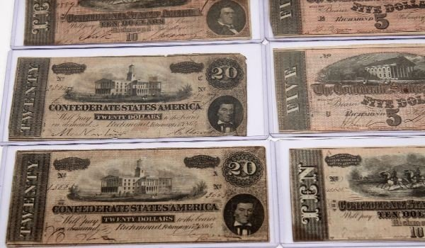 CONFEDERATE STATES NOTE LOT OF 12 5'S 10'S 20'S - 5