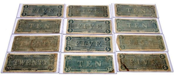 CONFEDERATE STATES NOTE LOT OF 12 5'S 10'S 20'S - 6