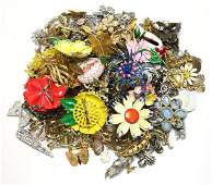 LARGE LOT OF COSTUME PINS AND BROOCHES 35 LBS